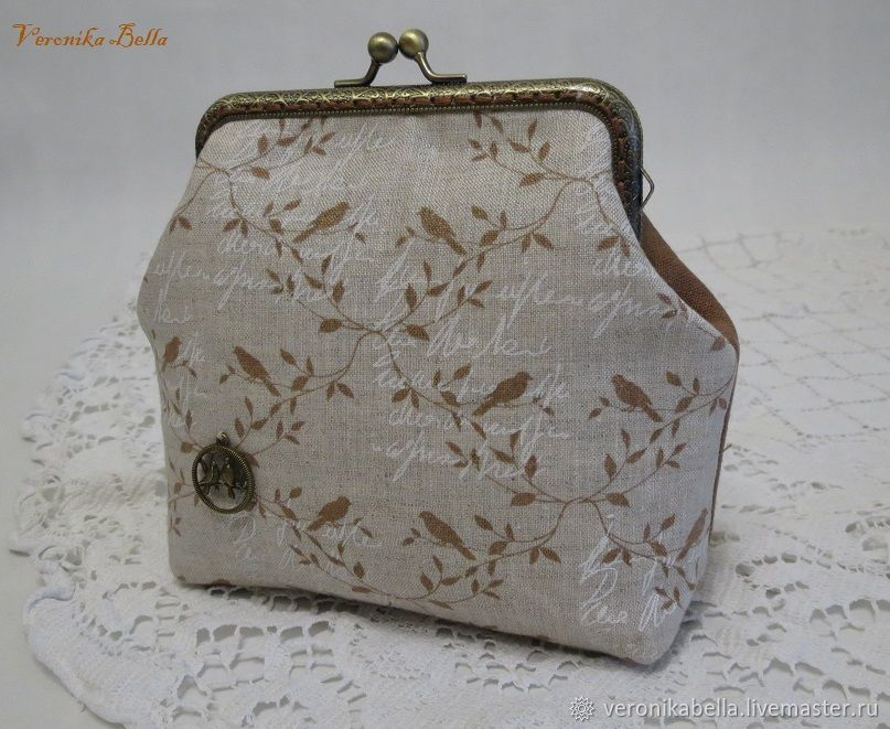 Cosmetic bag with clasp 'birdies on a branch', Wallets, Polyarnye Zori,  Фото №1
