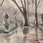 """Картины и панно ручной работы. Ярмарка Мастеров - ручная работа """"Туманный парк"""", акварель. Handmade."""