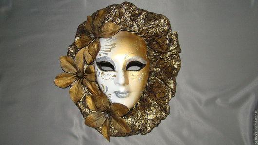 Интерьерные  маски ручной работы. Ярмарка Мастеров - ручная работа. Купить Осенняя муза (маска-декор). Handmade. Золотой