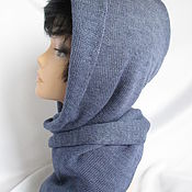 Аксессуары handmade. Livemaster - original item Hood with long scarf color jeans. Handmade.