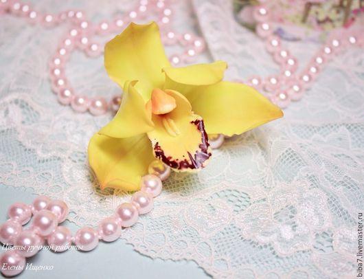 Заколки ручной работы. Ярмарка Мастеров - ручная работа. Купить Заколка зажим орхидея Керамическая флористика из полимерной глины. Handmade.