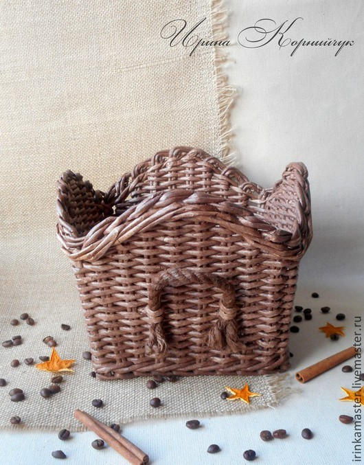 """Корзины, коробы ручной работы. Ярмарка Мастеров - ручная работа. Купить короб """"Горячий шоколад"""". Handmade. Плетение из бумаги, кантри"""
