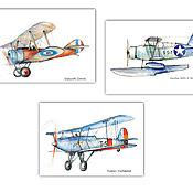 Для дома и интерьера handmade. Livemaster - original item Aircraft Vintage airplanes Set of 3 posters. Handmade.