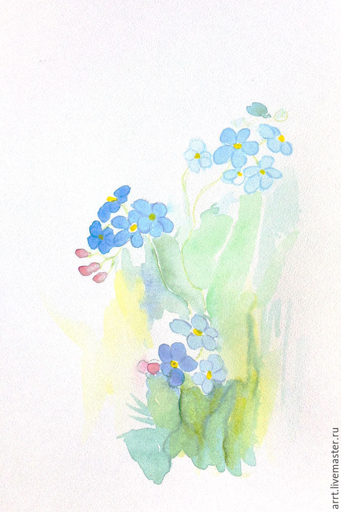 Picture forget-me-nots watercolor 10х15 cm, Pictures, St. Petersburg,  Фото №1