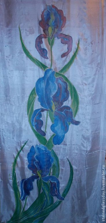 Роспись на шелковом шарфе\r\nКрупные цветы Ирисов\r\nДлина: 180 см.\r\nХудожник Макарова Екатерина