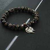 Украшения handmade. Livemaster - original item Bracelet made of beads and sterling silver . SWALLOW. Handmade.