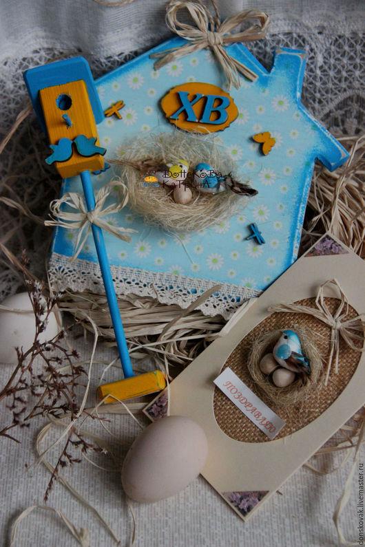 """Подарки на Пасху ручной работы. Ярмарка Мастеров - ручная работа. Купить Пасхальный набор """"Небесно-голубой"""". Handmade. Голубой"""