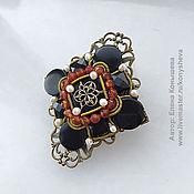Украшения handmade. Livemaster - original item Brooch - diamond with pearls and agate). Handmade.