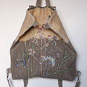 """Сумки и аксессуары ручной работы. Ярмарка Мастеров - ручная работа Рюкзак - сумка """"Весна"""", вощёный небелёный лён. Handmade."""