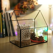 Для дома и интерьера ручной работы. Ярмарка Мастеров - ручная работа Стеклянный асимметричный домик флорариум. Handmade.