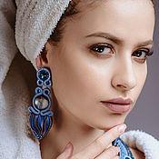 Украшения handmade. Livemaster - original item Earrings soutache Shibori silk Glow night blue grey. Handmade.