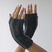 Аксессуары handmade. Livemaster - original item Women`s grey mittens.. Handmade.