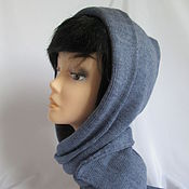 Аксессуары handmade. Livemaster - original item The hooded female with a short scarf color jeans the wool. Handmade.
