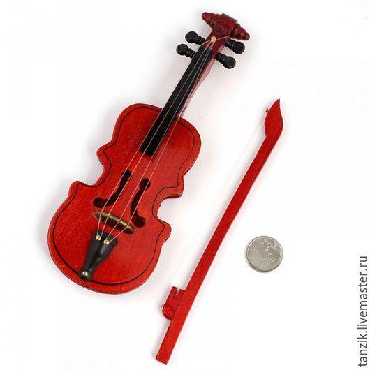 Куклы и игрушки ручной работы. Ярмарка Мастеров - ручная работа. Купить Скрипка для игрушек большая.. Handmade. Коричневый, скрипка