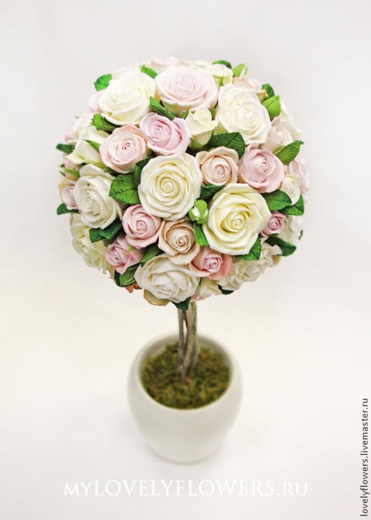 Цветы ручной работы. Ярмарка Мастеров - ручная работа. Купить Топиарий из роз  цветы из полимерной глины. Handmade. Бледно-розовый
