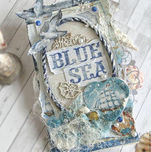 """Открытки на все случаи жизни ручной работы. Ярмарка Мастеров - ручная работа. Купить Открытка """"Мысли о море..."""". Handmade. Голубой"""