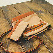 Сумки и аксессуары handmade. Livemaster - original item Set: Crossbody bag and Cosmetic Bag made of leather and canvas. Handmade.