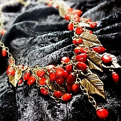 Украшения handmade. Livemaster - original item Coral shower. Necklace. Red corals, metal bronze.. Handmade.
