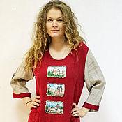 Одежда ручной работы. Ярмарка Мастеров - ручная работа платье льняное Замки. Handmade.