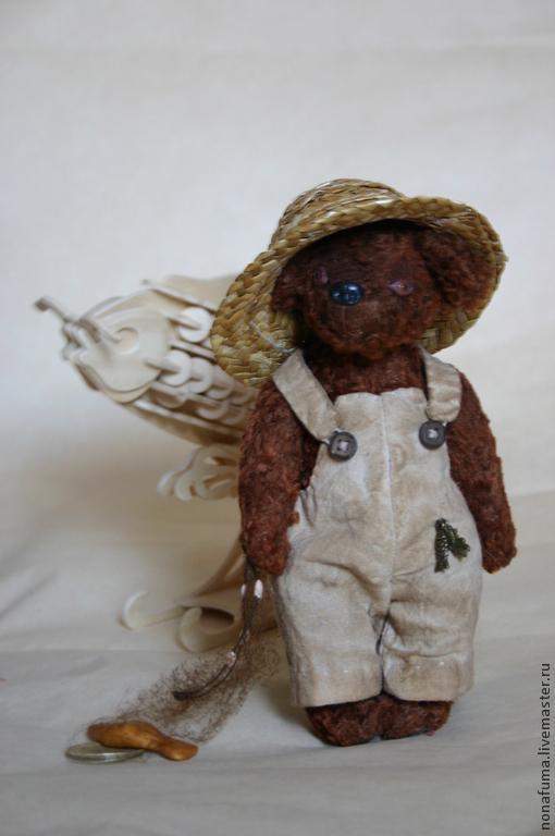 Мишки Тедди ручной работы. Ярмарка Мастеров - ручная работа. Купить Рыбак. Handmade. Коричневый, рыбак, винтажный плюш, подвески