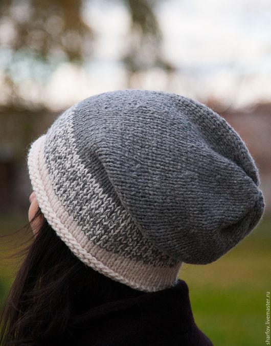 Шапочка для девочки, вязаная шапочка, шапочка зимняя, серая шапка.