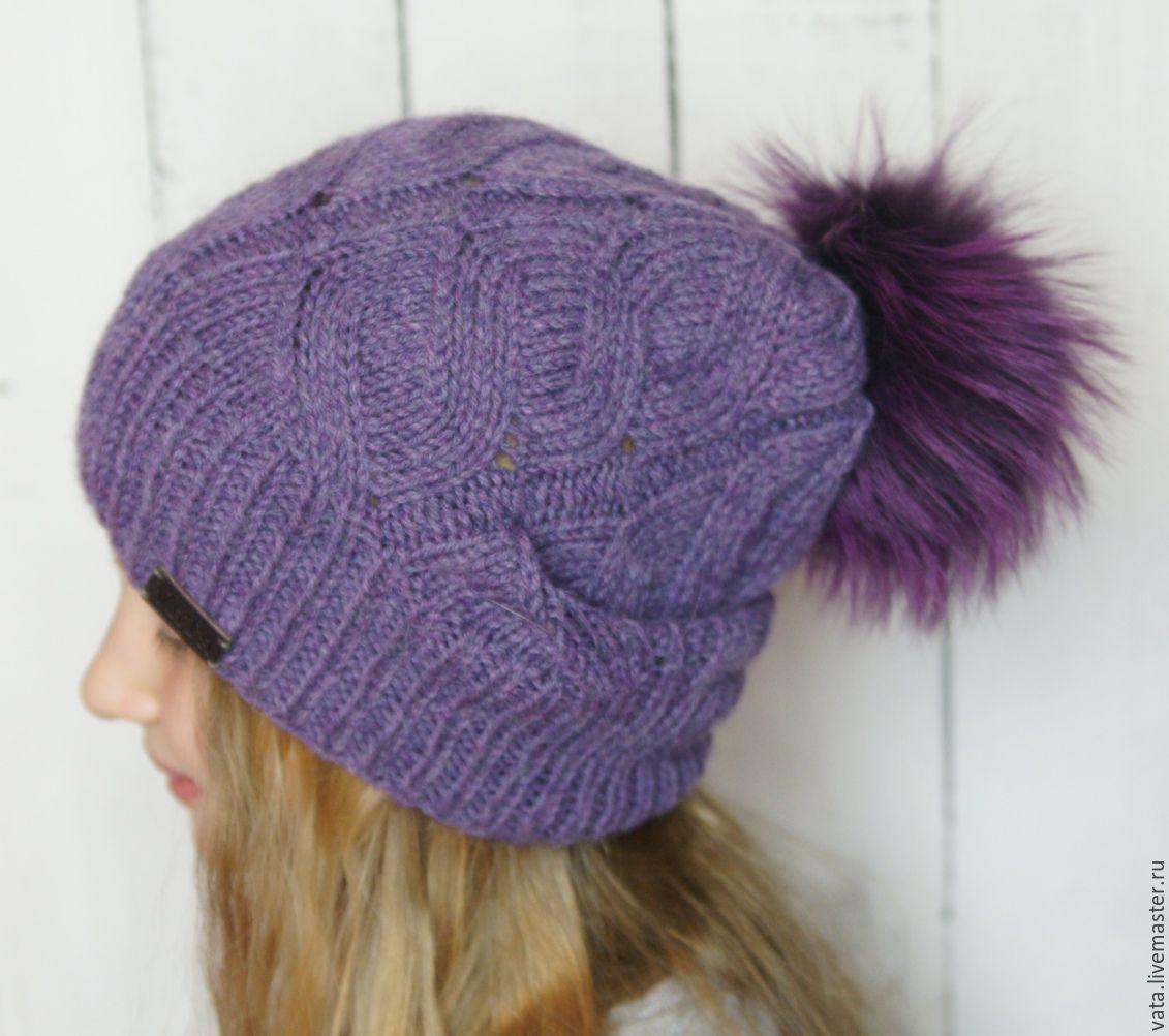 Купить Вязаная шапка с помпоном \