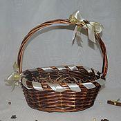 Для дома и интерьера ручной работы. Ярмарка Мастеров - ручная работа Корзина плетеная декорированная Настроение 32х27см. Handmade.