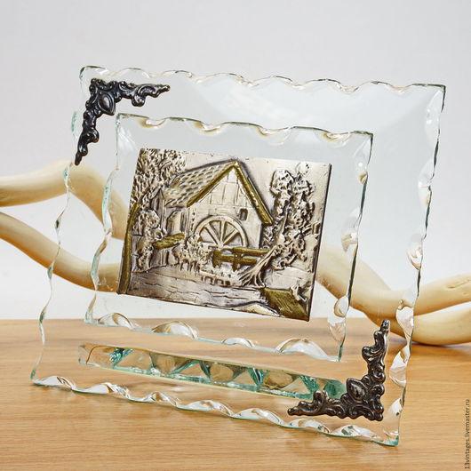 Винтажные предметы интерьера. Ярмарка Мастеров - ручная работа. Купить Настольная серебряная картинка. Handmade. Мятный, декор из стекла
