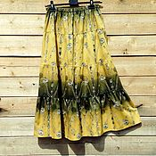Одежда ручной работы. Ярмарка Мастеров - ручная работа Пряная горчица - юбка из плотной хлопковой ткани,типа джинсовой. Handmade.