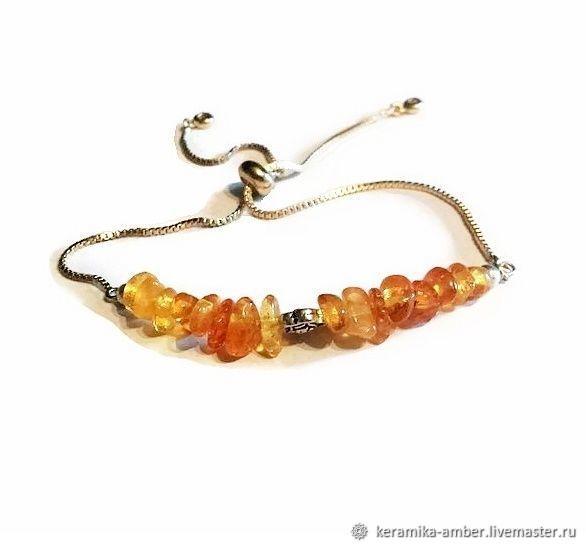 Amber on chain bracelet for girl women Fashion 2020 without size, Bead bracelet, Kaliningrad,  Фото №1