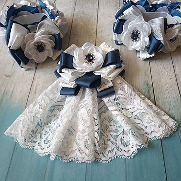 Товары для малышей ручной работы. Ярмарка Мастеров - ручная работа Бело-синий комплект в школу галстук-жабо и резинки на пучок. Handmade.