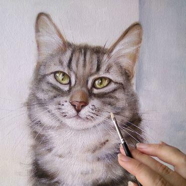 Картины и панно ручной работы. Ярмарка Мастеров - ручная работа Картина маслом с кошкой Портрет моей хорошей знакомой. Handmade.