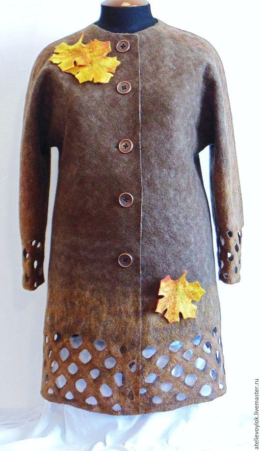 Большие размеры ручной работы. Ярмарка Мастеров - ручная работа. Купить Лёгкое валяное пальто, 58 размер.. Handmade. Пальто