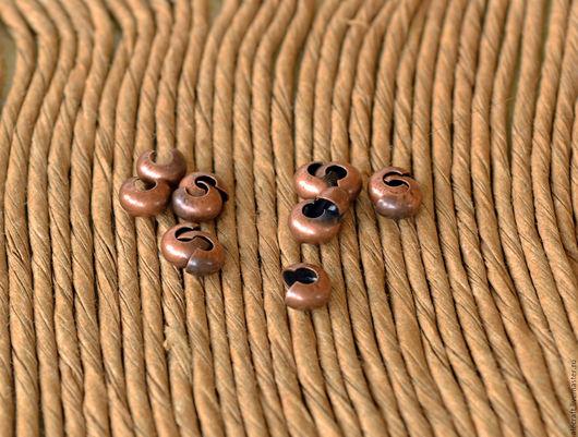Для украшений ручной работы. Ярмарка Мастеров - ручная работа. Купить 20шт Покрытия кримпов ант.медь 4мм. Handmade.