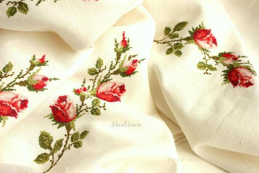 """Текстиль, ковры ручной работы. Ярмарка Мастеров - ручная работа. Купить Скатерть льняная """"Ветка розы"""". Handmade. Розы"""