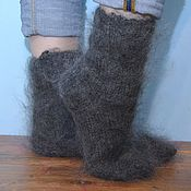 Аксессуары handmade. Livemaster - original item Knitted socks feather grey 100% goat down. Handmade.
