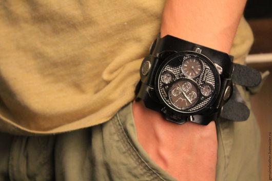 """Часы ручной работы. Ярмарка Мастеров - ручная работа. Купить Наручные часы унисекс с кожаным браслетом """"Сеть"""". Handmade. Черный"""