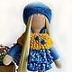 Коллекционные куклы ручной работы. Ярмарка Мастеров - ручная работа. Купить Кукла- малыш в сине-желтом одеянии. Handmade. Синий