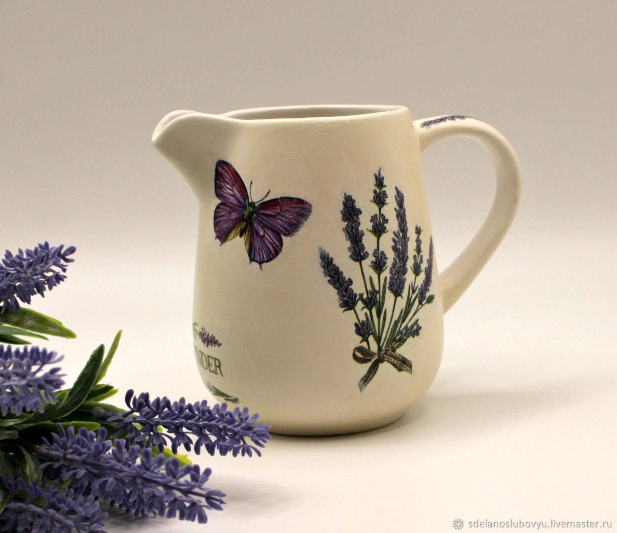 Ceramic milk jug Flowering lavender decoupage, Utensils, Moscow,  Фото №1