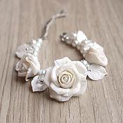 Свадебный салон ручной работы. Ярмарка Мастеров - ручная работа Браслет с белыми розами. Handmade.