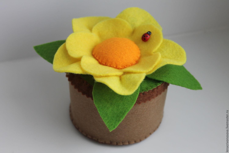 Поделка цветы в горшочке
