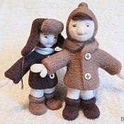 Войлочная игрушка ручной работы. Ярмарка Мастеров - ручная работа Малыши Оля и Борька, игрушки из шерсти. Handmade.