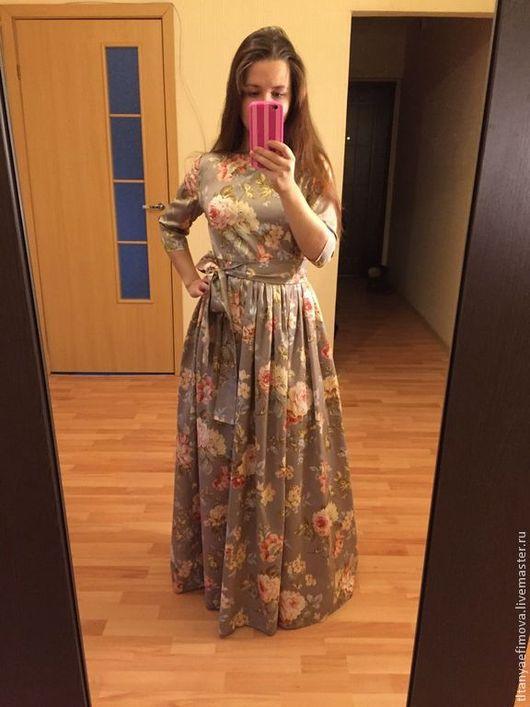Платья ручной работы. Ярмарка Мастеров - ручная работа. Купить Платье в пол Вальс цветов с длинным рукавом. Handmade. Цветочный