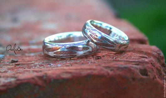 Кольца ручной работы. Ярмарка Мастеров - ручная работа. Купить Обручальные кольца  Mokume gane. Handmade. Обручальные кольца, delobo