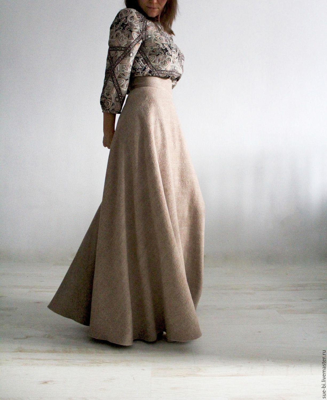 7adea2446f0 Ярмарка Мастеров - ручная работа. Купить Длинная юбка полусолнце из шерсти Юбки  ручной работы. Длинная юбка полусолнце из шерсти COCCINELLE.