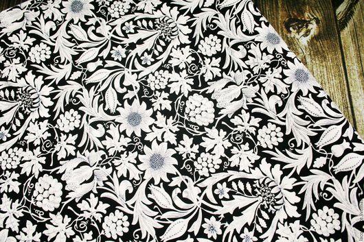 Шитье ручной работы. Ярмарка Мастеров - ручная работа. Купить Ткань для пэчворка. Handmade. Чёрно-белый, ткань для пэчворка