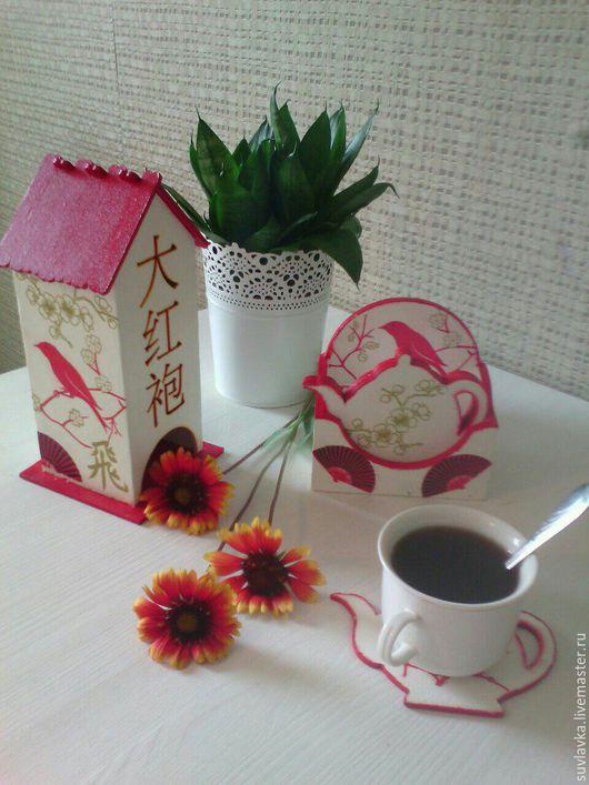 """Кухня ручной работы. Ярмарка Мастеров - ручная работа. Купить Чайный домик и подстаканники """"Японские мотивы"""". Handmade. Чайный домик"""