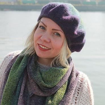 """Аксессуары ручной работы. Ярмарка Мастеров - ручная работа Комплект берет и шарф """"Лавандовое поле"""" фиолетовый зеленый. Handmade."""