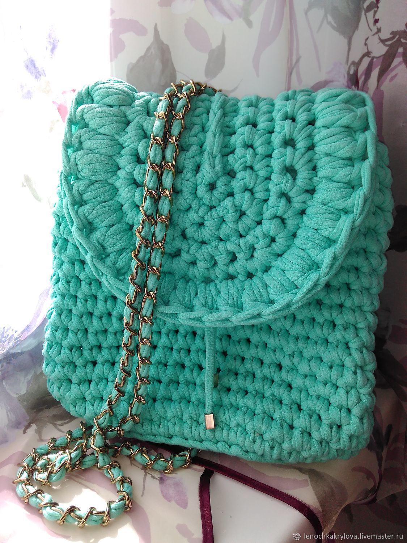 6861ef5e2602 ручной работы. Ярмарка Мастеров - ручная работа. Купить Вязаный рюкзак цвета  Мяты. Handmade ...