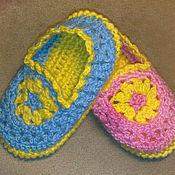 """Обувь ручной работы. Ярмарка Мастеров - ручная работа Тапочки детские """"Цветочки"""". Handmade."""